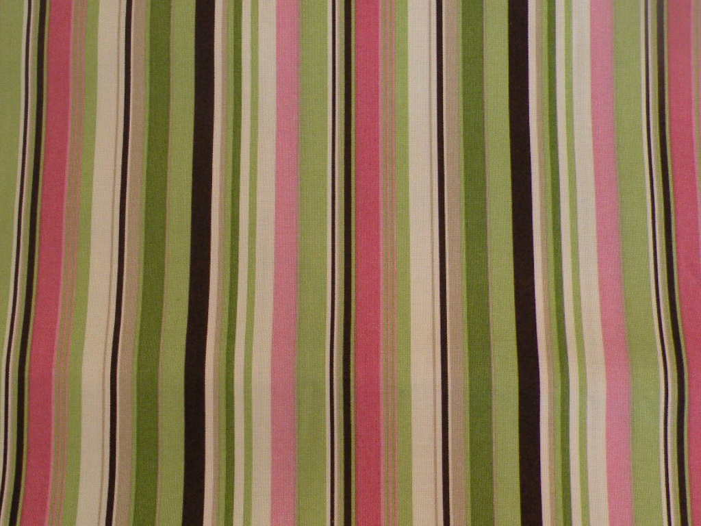 Green Damask On Cream Pink Stripes